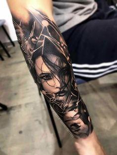 New Tattoo Frauen Gesicht 24 Ideas Forarm Tattoos, Arm Sleeve Tattoos, Tattoo Sleeve Designs, Skull Tattoos, Body Art Tattoos, Tattoo Art, Portrait Tattoo Sleeve, Badass Tattoos, Sexy Tattoos