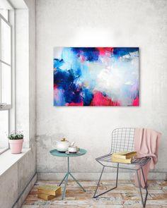 """Original grande peinture abstraite, art abstrait, peinture sur toile, oeuvre acrylique, peinture colorée, """"BOLD"""" fuchsia orange peinture bleu foncé"""