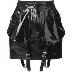Jeremy Scott buckled straps detail mini skirt (1,585 BAM) ❤ liked on Polyvore featuring skirts, mini skirts, bottoms, black, jeremy scott, short mini skirts, short skirts and mini skirt