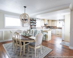 Over the last 7 years we have remodeled this house into our current home. Come walk through my home tour for a taste of farmhouse! Farmhouse Kitchen Lighting, Modern Farmhouse Kitchens, Farmhouse Table, Rustic Farmhouse, Dining Area, Dining Table, Dream Master Bedroom, Neutral Kitchen, House Tours