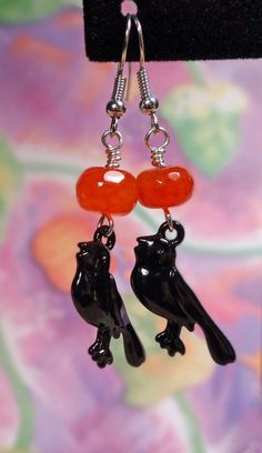 Halloween earrings Orange and black by BulletsBeadsBaubles on Etsy