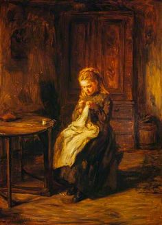 A Girl Sewing -  Hugh Cameron - late 1860s or 1870s