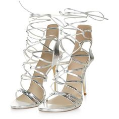 Silver Ghillie Heeled Sandals ($53) ❤ liked on Polyvore featuring shoes, sandals, heels, silver shoes, shiny shoes, laced sandals, lace up shoes y open toe shoes