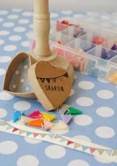 Sweet little Bunting Necklaces – chose your own colours and a little personalised box.