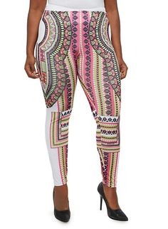 d5206b8f25 Plus Size Dashiki Print Leggings with Elastic Waistband