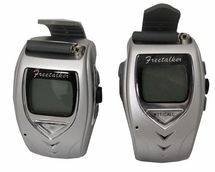 Walkie Talkie Wrist Watches provide lightweight, compact, communication and tech capabilities at the flex of your wrist! Features include: 22 channels + scan capability, operating range up to 1.5 miles, frequency range 462MHz, 467MHz, 0.35 output power, CTCSS (continuous tone control), auto squelch and battery saving, internal VOX (voice operated transmit), 24-hour wristwatch, backlit display screen, re-chargeable power source.