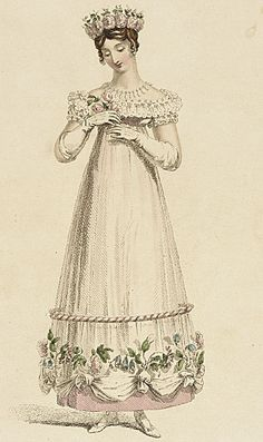 Ackermann's Repository, Evening Dress, May 1817.  *sigh*  What a charming outfit!  Her little floral crown is lovely!