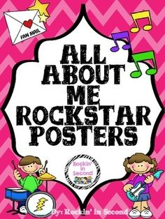 All About Me Posters Rockstar Themed6 posters suitable for any grade.Each poster has a different icon on top in color. You can just print in black and white to save ink.Cute for the first week of school. Have students do this in class or at home for homework.Great for their memory books.Follow me on TPT for more exciting activities and FREEBIES!!