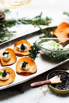 Sweet Potato Chips with Whipped Goat Cheese and Caviar - simple, elegant and celebration-worthy, these are the perfect appetizer for your next festive get together! Quick Appetizers, Easy Appetizer Recipes, Whipped Goat Cheese, Caviar Recipes, Vol Au Vent, Sweet Potato Chips, Appetisers, Food Processor Recipes, Healthy Snacks
