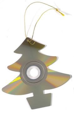Cool recycled CD Christmas ornament. Cut with a di-cut machine? This would look SO sweet against Christmas lights and reflecting the tree!