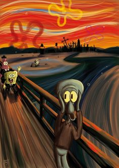 A Spongebob Squarepants parody of The Scream by Edvard Munch Cartoon Wallpaper, Retro Wallpaper, Disney Wallpaper, Wallpaper Spongebob, Edvard Munch, Le Cri Munch, Scream Parody, Scream Meme, Funny Art