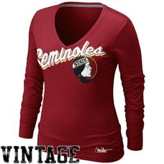b20c3ffb277 Nike Florida State Seminoles (FSU) Ladies Vault University V-Neck Long  Sleeve T-Shirt - Garnet