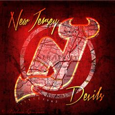 New Jersey Devils Map Art  Perfect Christmas by RetroLeague