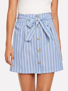 To find out about the Tie Detail Striped Skirt at SHEIN, part of our latest Skirts ready to shop online today! Striped Skirt Outfit, Stripe Skirt, Skirt Outfits, Cute Skirts, A Line Skirts, Mini Skirts, Sewing Clothes, Diy Clothes, Cute Summer Outfits