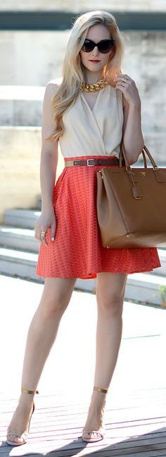 Tangerine Geo Print Pleated Skater Skirt