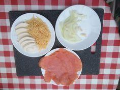 zalm, ui en kaas