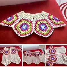 This Pin was discovered by Lab Crochet Bolero, Cardigan Au Crochet, Beau Crochet, Pull Crochet, Crochet Coat, Baby Girl Crochet, Crochet Clothes, Free Crochet, Crochet Granny