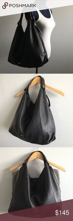 FURLA Elisabeth Leather Hobo Bag Black leather with gold tone hardware. EUC with minor signs of wear. Please see all photos. Unzip sides to expand bag, with grey patent leather lining. Very clean on the inside.  Bag was stuffed for photo purposes only Furla Bags Hobos