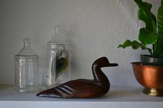 Ironwood Carved Duck Vintage Animal Statue home