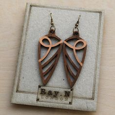 Handmade wooden earrings, art deco inspired, bespoke earrings, gift for her…