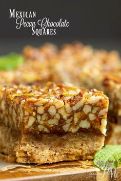 Enjoy these Mexican style Pecan Chocolate Squares that are packed with pecans. They're easy to make easy to transport and great for year around noshing. 13 Desserts, Strawberry Desserts, Cookie Desserts, Cookie Recipes, Delicious Desserts, Yummy Recipes, Coconut Biscuits, Chocolate Squares, Dessert Bars