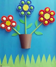 If you need any ideas of craft projects that you can get your hands on have a look at these inspirational recycled craft ideas. Spring Crafts For Kids, Easy Crafts For Kids, Craft Activities For Kids, Art For Kids, Craft Ideas, Bottle Top Crafts, Plastic Bottle Crafts, Craft Stick Crafts, Paper Crafts