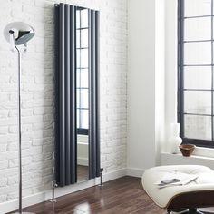 Hudson Reed Radiatore di Design Verticale in Antracite con Specchio di 1800 x 499 mm - Revive