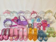 Princess Dress Up Lot 30 Pcs Shoes Tiaras Purse +