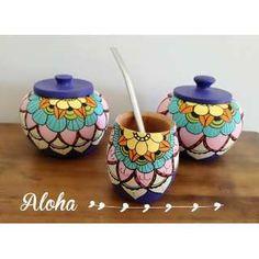 Mates De Calden Pintados A Mano - $ 260,00 Paper Mache Bowls, Paper Mache Crafts, Pottery Painting Designs, Paint Designs, Pebble Painting, Ceramic Painting, Decoupage Art, Posca, Painted Pots