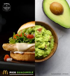 Creamy Guacamole, extra dreamy! The Signature Crafted Pico Guacamole sandwich comes with guacamole made with real Hass avocados, Pico de Gallo with Roma tomatoes, creamy buttermilk ranch sauce and a fresh lime wedge. Try one at participating McDonald's