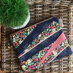 Stand out from the crowd with this beautifully handmade patchwork & free hand quilted Clutch Purse. A piece of art lovingly stitched in navy