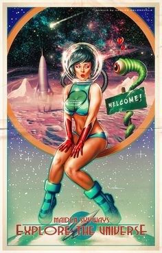 "Dedicated to all things ""geek retro:"" the science fiction/fantasy/horror fandom of the past including pin up art, novel covers, pulp magazines, and comics. Arte Do Pulp Fiction, Science Fiction Kunst, Geek Culture, Pop Culture, Arte Sci Fi, Sci Fi Art, Comic Cover, Dibujos Pin Up, Sci Fi Kunst"
