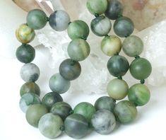 Polar Green Jade Round Matte 10mm Gemstone #Necklace #ButterflysPin #jewelry