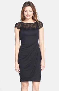 Xscape Beaded Yoke Matte Jersey Sheath Dress available at #Nordstrom