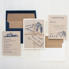 Rustic Mountain wedding invitations are inspired by a mountain ceremony. Printed on warm taupe papers and bundled with twine, this invite is rustic and stylish. Mountain Wedding Invitations, Wedding Invitation Samples, Vintage Wedding Invitations, Rustic Invitations, Invitation Cards, Invitation Suite, Invitations Online, Vintage Weddings, Invitation Templates