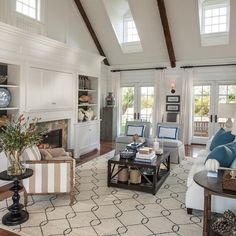 I like the built-ins, especially the doors over the tv area. Maybe do something like this for the family room. Tour The Martha's Vineyard HGTV Dream Home, 2015 Interior Exterior, Interior Design, Coastal Interior, Interior Colors, Hgtv Dream Homes, Dream House Interior, Room Interior, Room Pictures, Patio Pictures