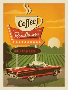 Coffee Wallpaper, Vintage Coffee Signs, Cafe Art, Coffee Poster, Coffee Design, Graphic Design Posters, Illustrations And Posters, Vintage Travel Posters, Up Girl