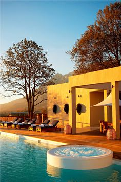 Main Spa Pool and Deck at Delaire Graff Wine Estate in Stellenboch, South Africa.
