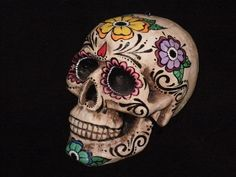 Day of the Dead Skull Frida 2 by AirangaleDay Of The Dead Skull Art Project Sugar Skull Artwork, Sugar Skull Painting, Body Painting, Day Of The Dead Mask, Day Of The Dead Skull, Mexican Skulls, Mexican Folk Art, Candy Skulls, Sugar Skulls