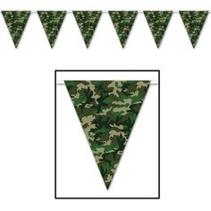 """Hang this Camo Flag Pennant Banner indoors or outdoors at your next party. Includes 1 pennant that measures 10"""""""" H x 12' W.Includes (1) pennant banner. 12' wide. Indoor/outdoor."""