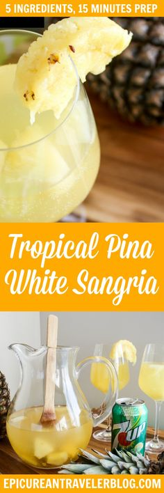 Msg 4 21+ Tropical Piña White Sangria recipe perfect for beach days, spring break, and feeling like you are relaxing in paradise. With only five ingredients and 15 minutes prep time, this tropical sangria is ready to take to the beach in no time! #ad #JustAdd7UP