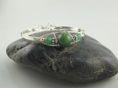 WSB-0227 Handmade Green Quartz & Aventurine Gemstone Bangle Bracelet Wire Wrapped with Argentium Sterling Silver Wire by inspiredcreationsco on Etsy
