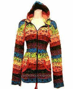 Pixie Hooded Bubble Print Hippy Style Jacket ,Hippie Clothes,Boho.Multicoloured | eBay