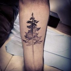 A forest tree that's solid black on top but fades out in a gradient style towards the bottom with dots.
