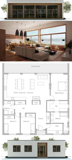 Container House - Small House Plan - Who Else Wants Simple Step-By-Step Plans To Design And Build A Container Home From Scratch? Small Modern House Plans, Modern House Design, Scandinavian Design House, Bedroom Floor Plans, House Floor Plans, Bathroom Plans, Single Story Homes, House Roof, House Layouts