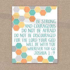 "Boy's Room Scripture Print - Joshua 1:9 ""Strong and Courageous"" yellow, aqua, orange, gray 8x10 bible verse wall art decor"