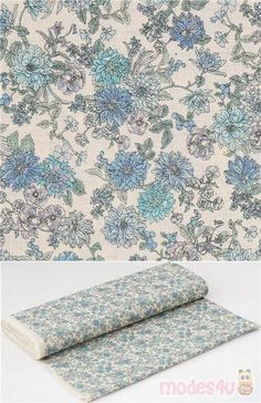 lovely cotton sheeting fabric in natural color with detailed flowers in light shades of blue: light turquoise, periwinkle etc., Material: 100% cotton #Cotton #Flower #Leaf #Plants #JapaneseFabrics