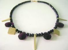 Necklace made of brass and crystals