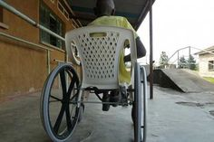Spanish designers re-using plastic chairs to make wheelchairs more accessible for people in Rwanda