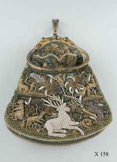 Embroidered game bag: silk, silver, and gold on velvet  (Dresden 1609)